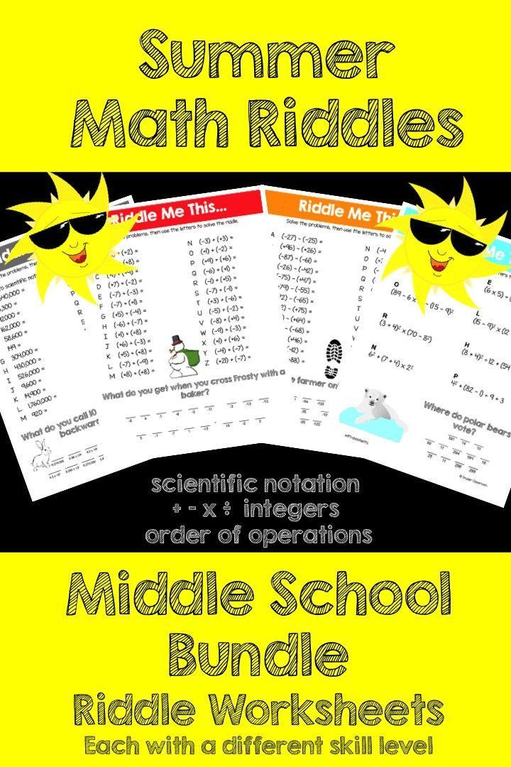 Summer Math Riddles Middle School Bundle Math, Middle