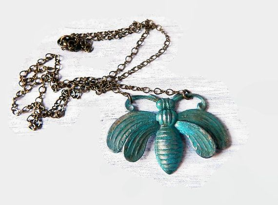 Pretty Gift VINTAGE Green Patina Wing Verdigris Necklace NEW VERDIGRIS Color Angel Wing Pendant Angel Wing Necklace- Brass Wing Jewelry