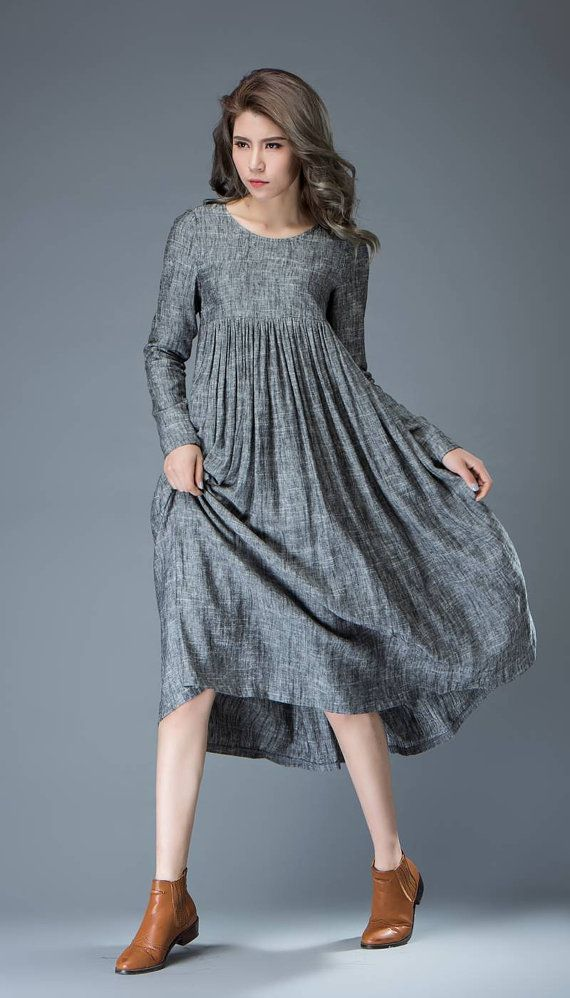 51b63e3ee6 Casual Gray Dress - Comfortable Linen Loose-Fitting Long Sleeved Everday  Marl Grey Midi-Length Woman s Dress C808