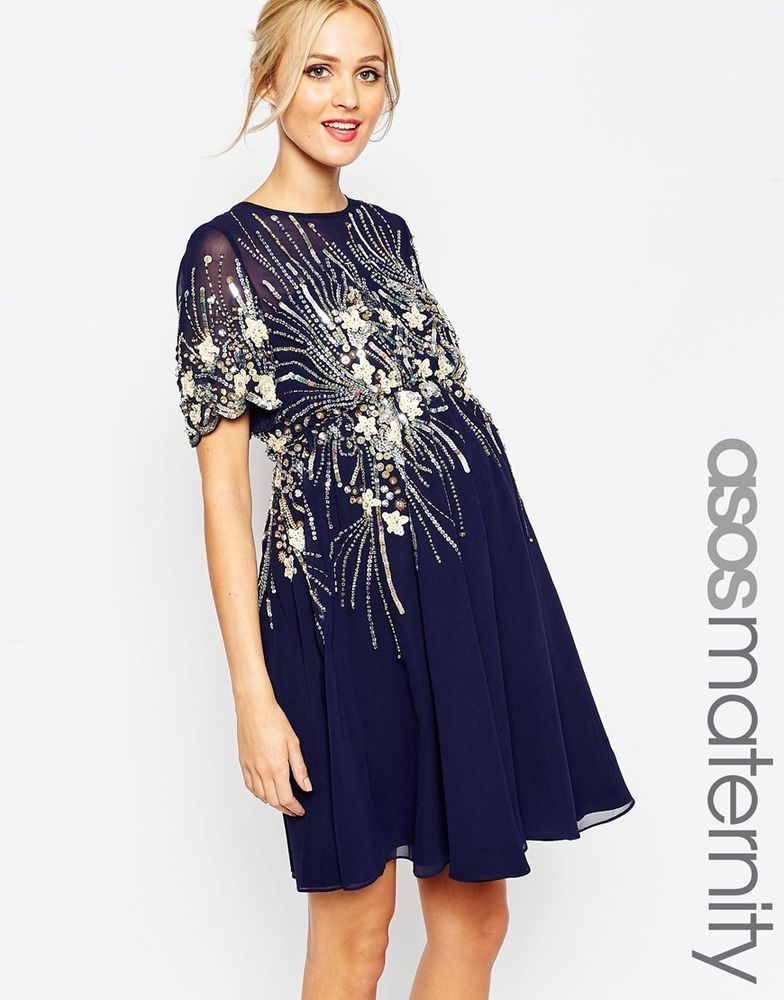 6421381c2be7 ASOS Maternity Midi Skater Dress with Sparkle Embellishment UK 10-EU 38-US 6