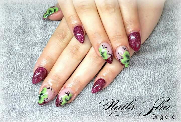 Onestroke Flowers Nailart French Redcolor Stilettonails