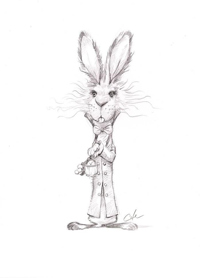 Кролик из Алисы в стране чудес - тату на руке девушки