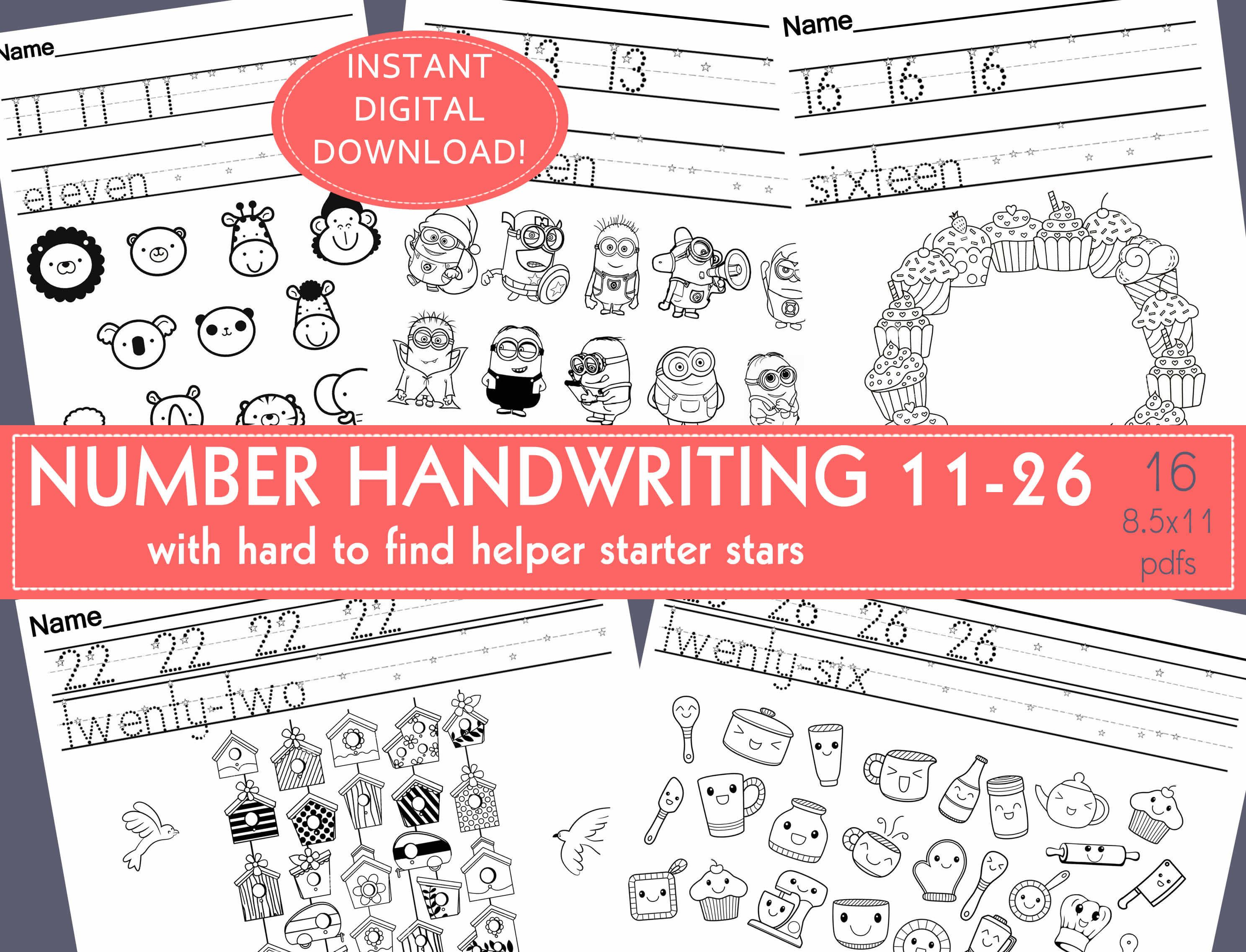 Number Handwriting Practice Worksheets Prek Kindergarten