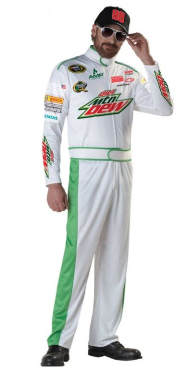 NASCAR Dale Earnhardt Jr Adult   Mens Includes: white jumpsuit with team logos and attached belt comes with printed adjustable ball cap.