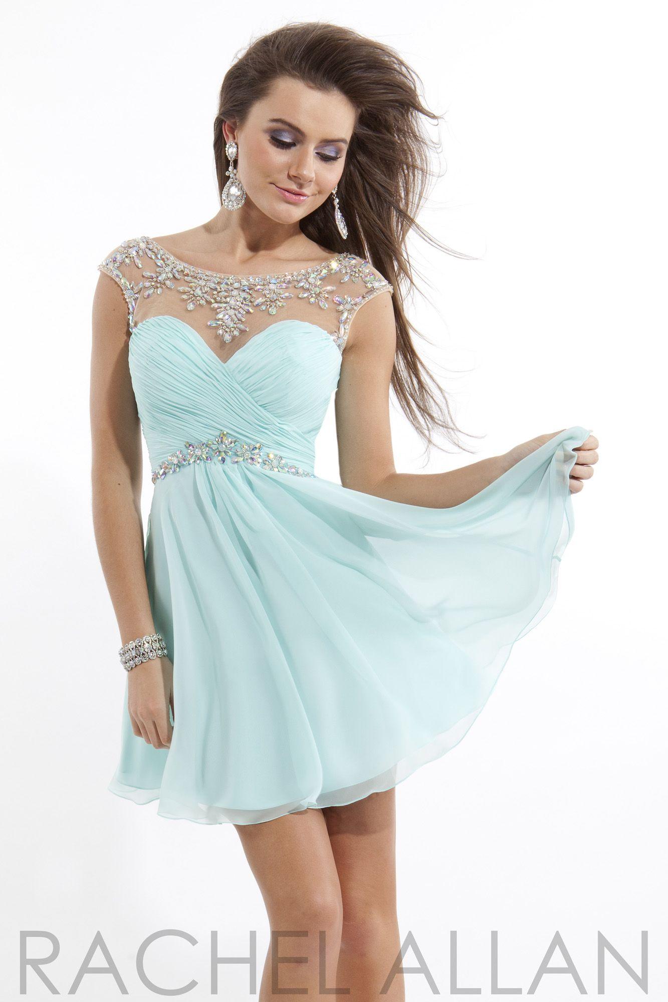 Rachel Allan Mint Green Beaded Illusion Short Prom Dress