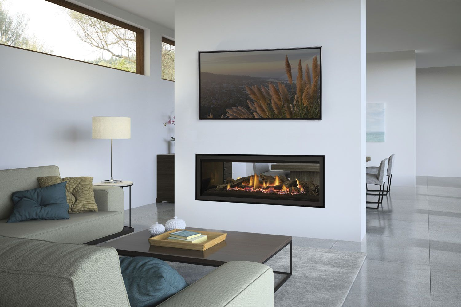 Why You Should Consider A Double Sided Fireplace If A Conventional Fireplace Adds A Touch Of Warm Double Sided Fireplace Fireplace Design Modern Fireplace