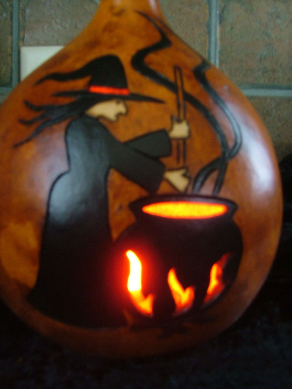 Halloween decoration - lighted pumpkin witch & stew pot gourd ...