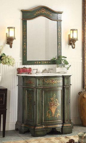 35 Hand Painted Crossfield Bathroom Sink Vanity Mirror Set Hf 090g Mr090g Bathroom Sink Vanity Shabby Chic Bathroom French Country Bathroom