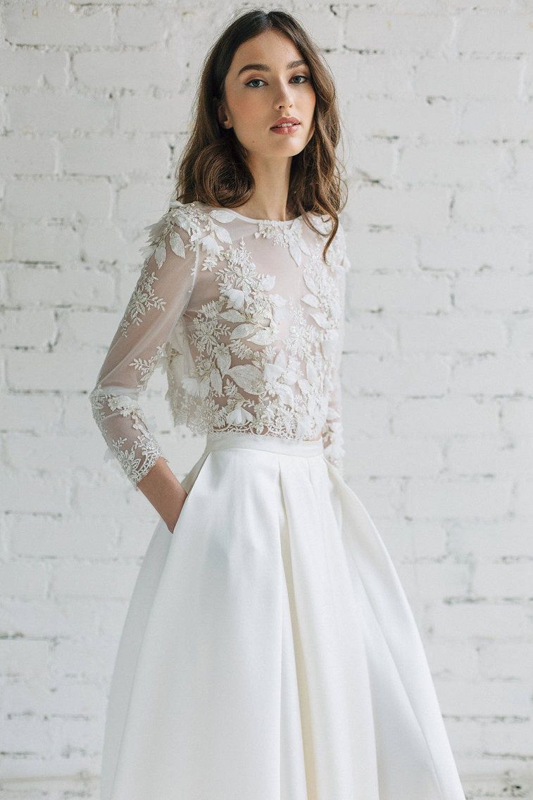 Long sleeve lace crop top wedding dress