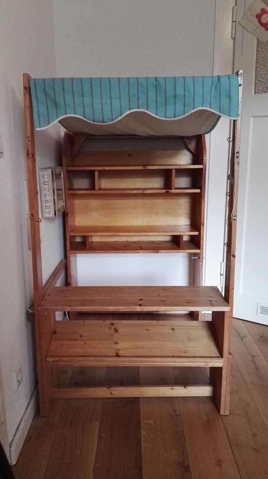 Kaufladen aus Holz, gebraucht, stabil mit gestreifter