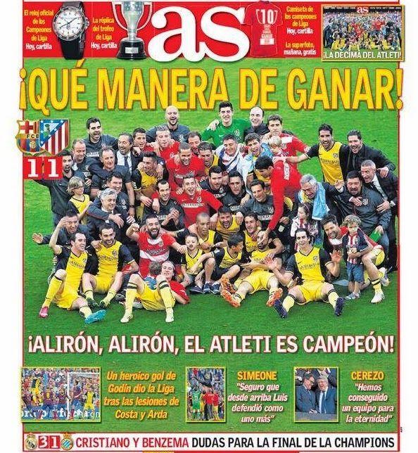 Portada As Atlético Madrid Campeón Liga Española 2014