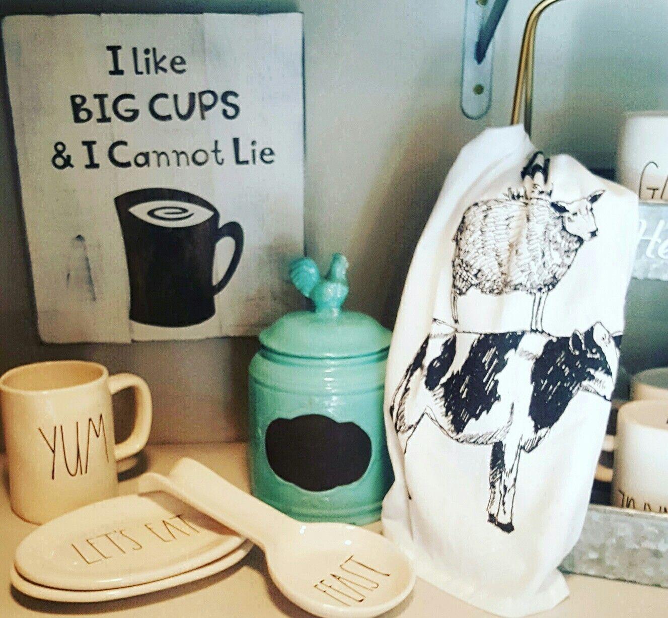Rae dunn mugs plate spoon rest cow towel   Rae Dunn love ...