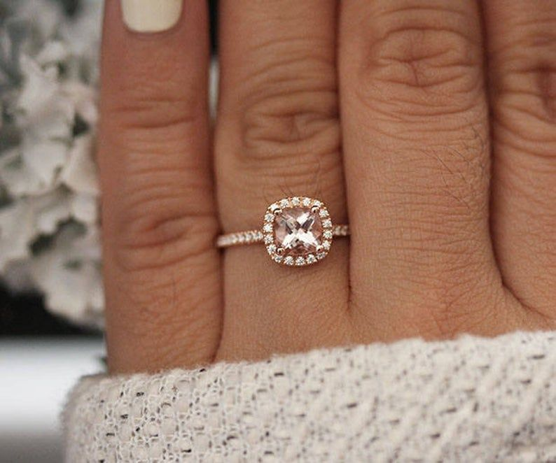 Low Cost Engagement Ring 10k Rose Gold Morganite Cushion 6mm Etsy In 2020 Yellow Diamonds Engagement Delicate Gold Ring Detailed Engagement Ring
