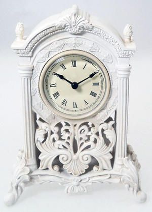 White Filigree Art Deco Mantel Clock Broken Arch Pillars Preview With Images Clock Mantel Clock Mantel Clocks