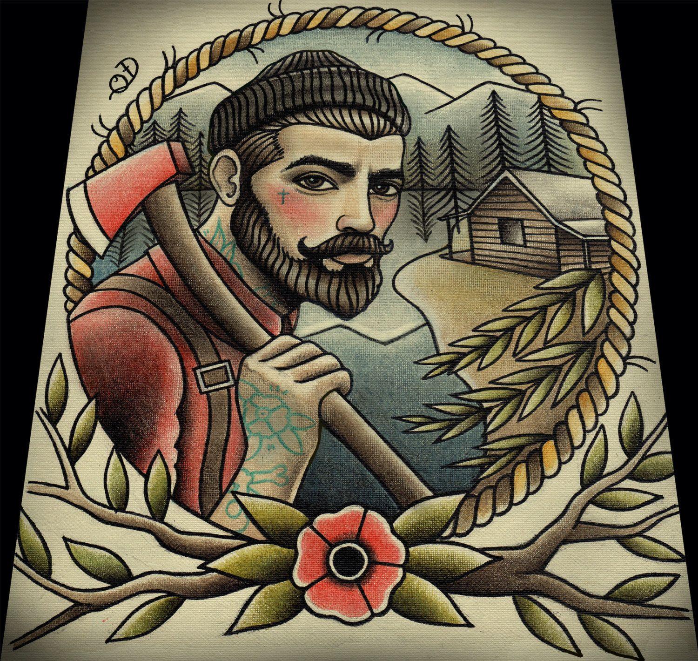 Lumberjack tattoo art print 11 x13 tattoo art and tattoo for Jacks tattoo lost
