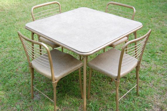 Vintage Cosco 1950s Metal Table And Chairs Gambling Gaming