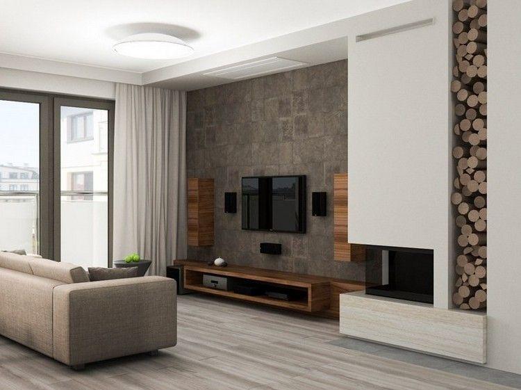 Wandgestaltung In Steinoptik Und TV Möbel Aus Dunklem Holz