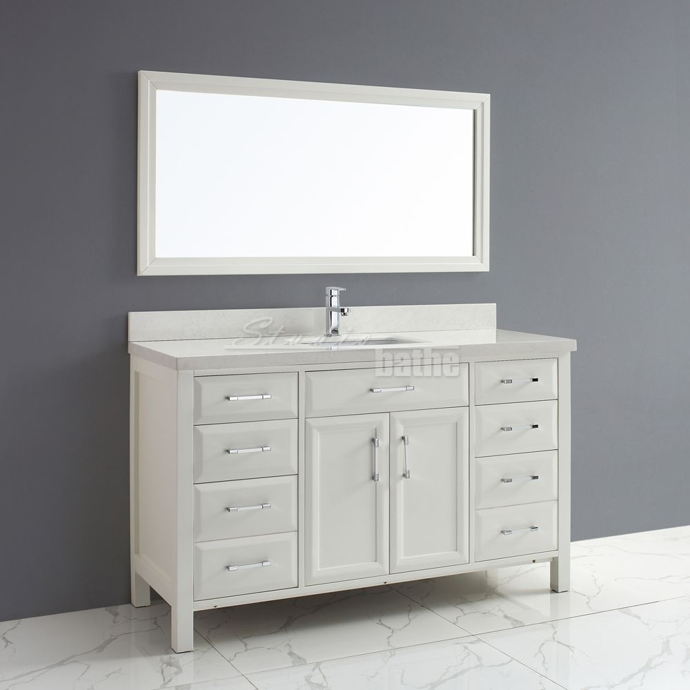 2499 Calais 60 Inch Transitional Single Sink Bathroom Vanity White Finish