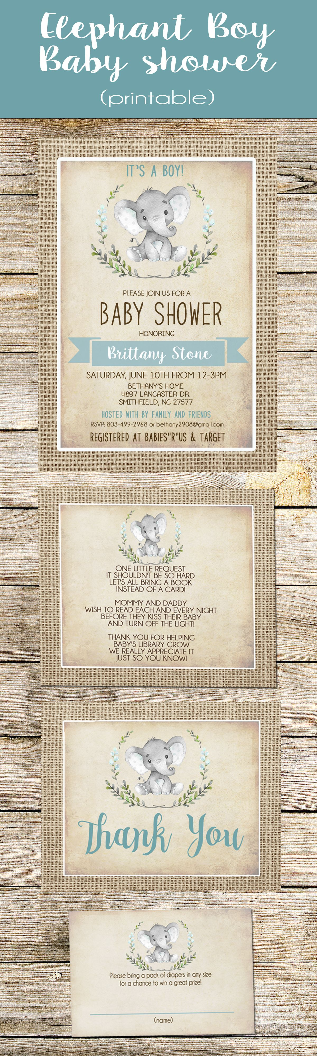 free printable camo baby shower invitations templates%0A Boy Elephant Baby Shower Invitation Boy Burlap Rustic Shower Invitation   Shabby Chic  Blue