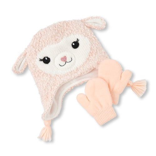 Toddler Girls Llama Hat And Mittens Set  89036227cce6