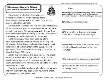 Microscopes Magnify Things 2nd Grade Reading Comprehension Worksheets Reading Comprehension Worksheets 2nd Grade Reading Comprehension Reading Comprehension Reading comprehension worksheets 9th
