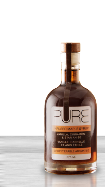 This is PURE Infused Maple Syrup, available in 5 wonderful flavours. Vanilla,Cinnamon & Star Annise, Chipotle & Lemongrass, Lavender & Chai, Cinnamon,Nutmeg & Cloves, Gastrique