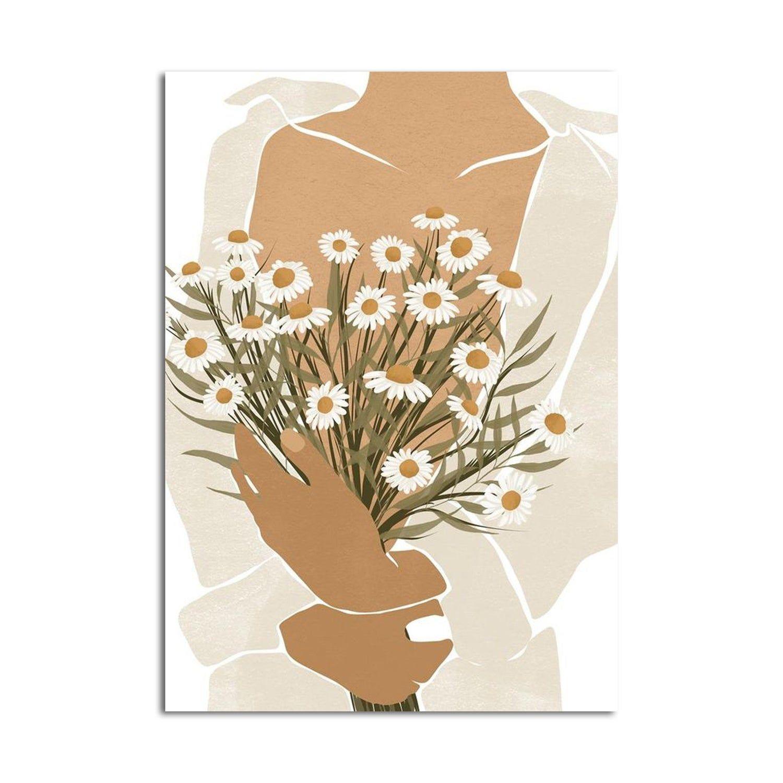 Daisy Girl Poster Fashion Flower Art Black Woman Art Boho Wall Art Black Girl Art Daisy Woman Art Decor