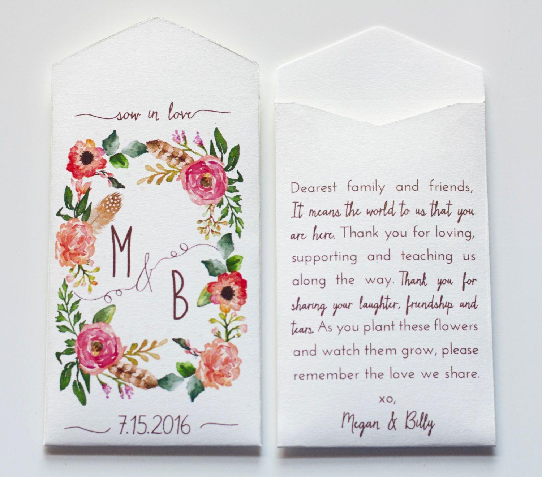 Custom Cream Rustic Wedding Favor Seed Packet Envelopes - Many ...