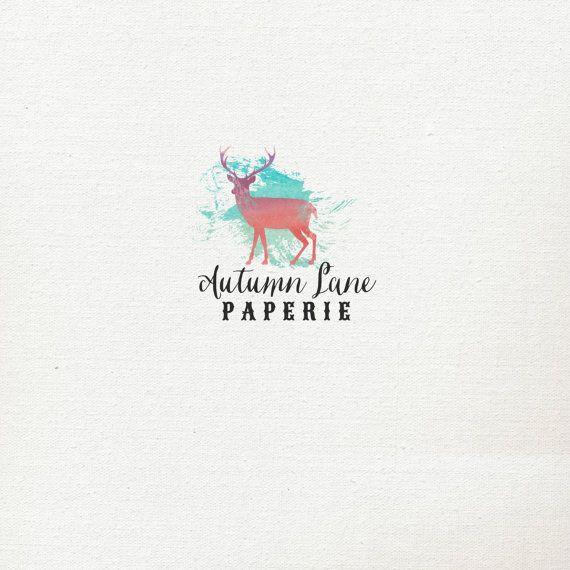 Pre-Made Logo - Premade Logo - Rustic Logo - Shabby Chic Logo - Deer Logo - Antler Logo - Watercolor Logo on Etsy, $20.00