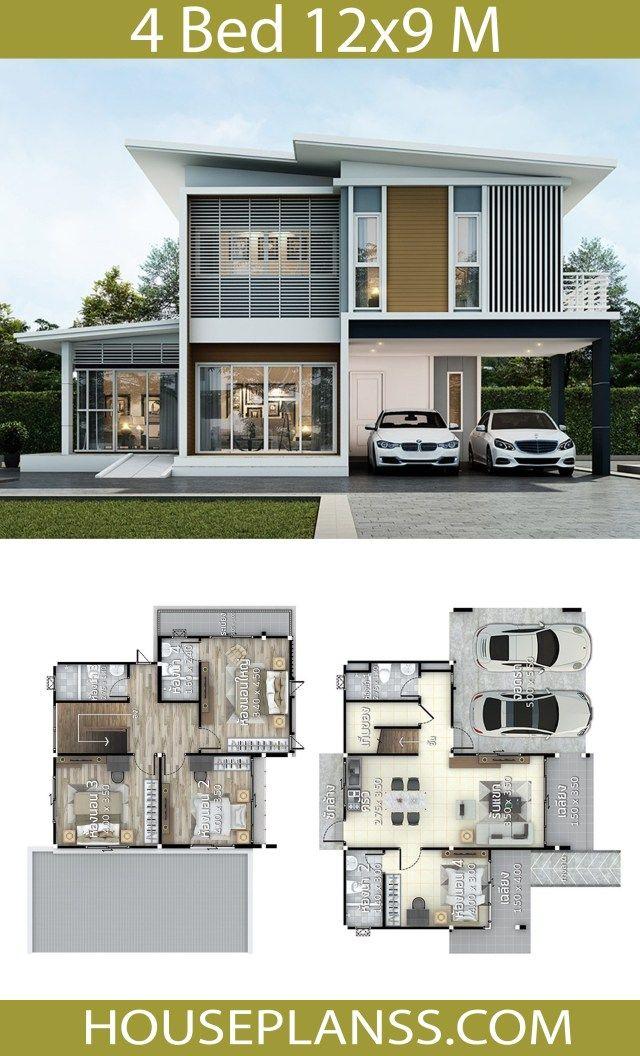 House Design Plans Idea 12x9 With 4 Bedrooms Denah Rumah Arsitek Desain Rumah