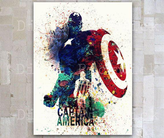 Captain America Marvel Comics Aquarelle Numerique Affiche Poster De A3 Vengeurs Wall Decor The Avengers Telecharger Affiche Artistique Les Arts Tableau Marvel