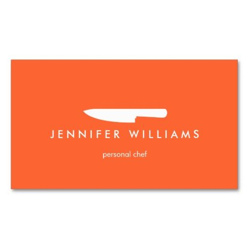 Chef knife on orange for catering restaurant business card card chef knife logo on orange business card template for catering business personal chef food cheaphphosting Choice Image