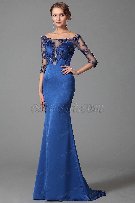 Elegant Blau Auf-Schulter Halb Ärmel Prom Kleid Abendkleid (02152805 ...