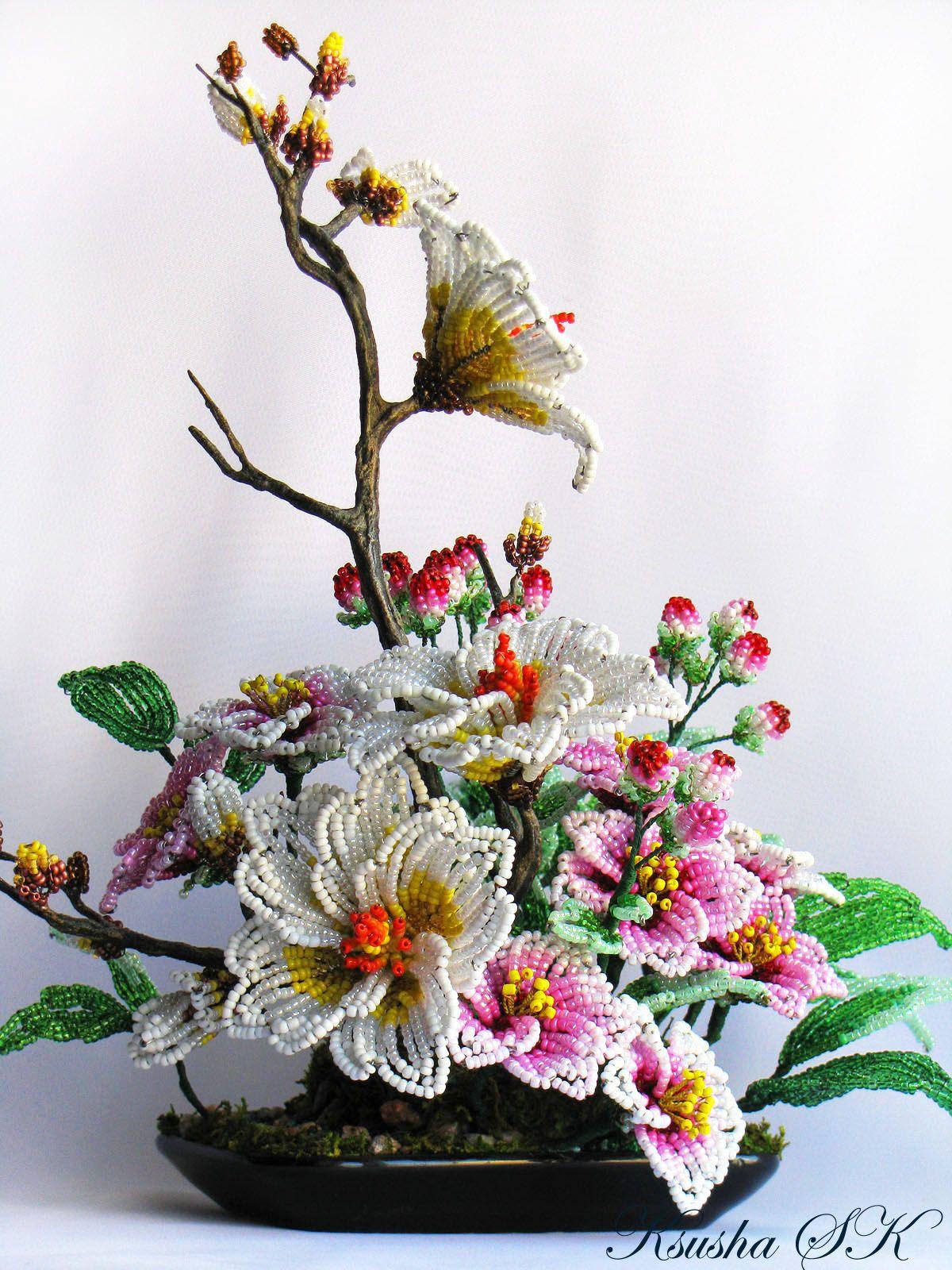 Зимние композиции цветов из бисера фото
