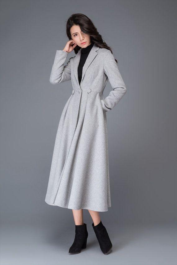 d5c6c9bf8 princess coat, long coat, wool coat, womens coats, grey wool coat ...