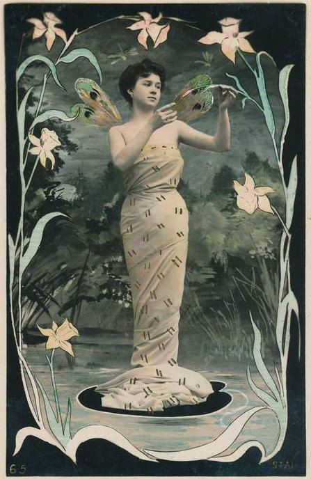 Art Nouveau Graphic - Beautiful Woman with Jewelry - The