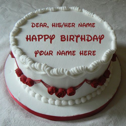Fabulous Happy Birthday Wishes Red Rose Cake With Your Name With Images Funny Birthday Cards Online Elaedamsfinfo