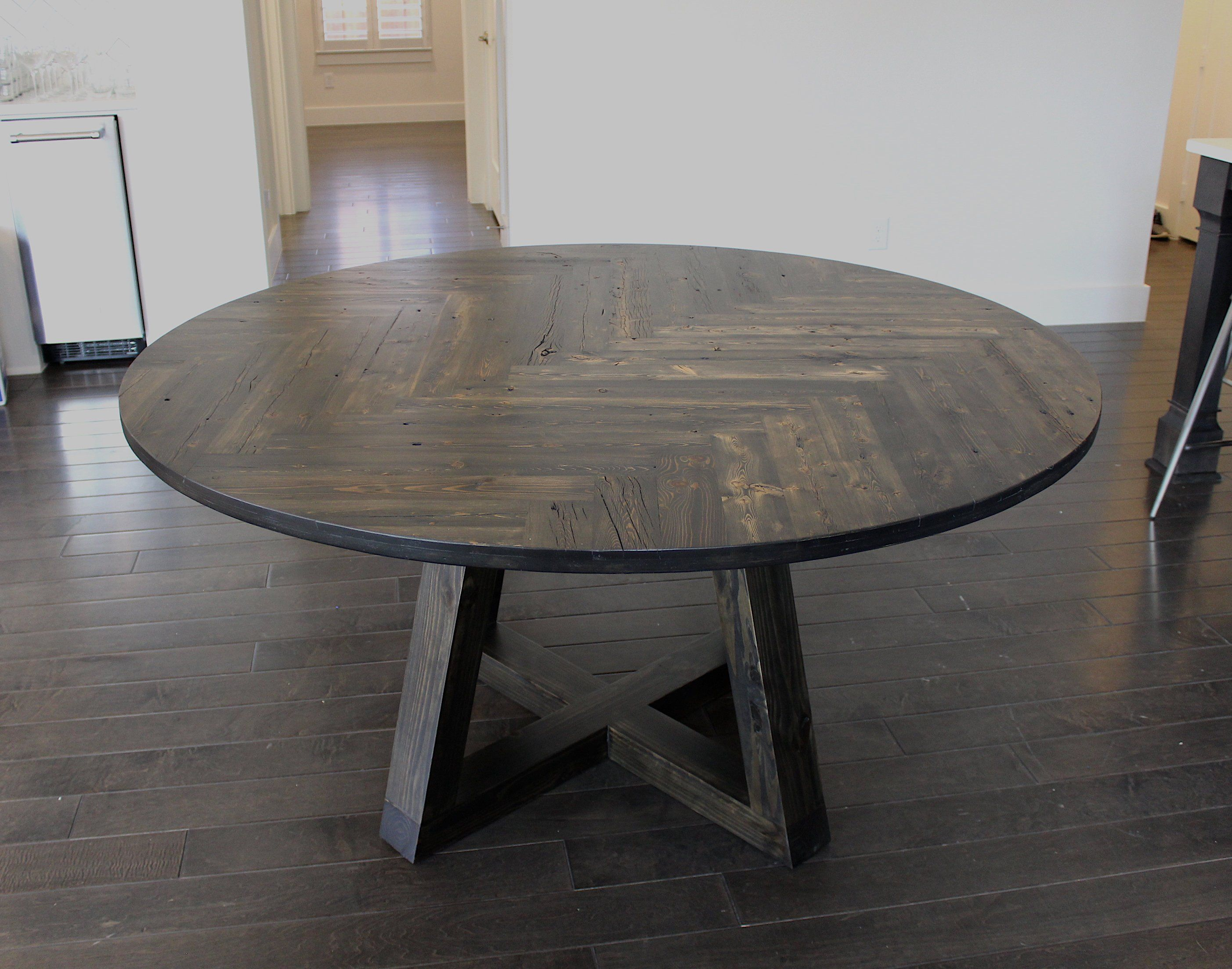 Reclaimed Circle Herringbone Dining Table Double Herringbone 5ft Diameter Circle Table Dark Walnut Circular Dining Table Round Wooden Dining Table Dining Table