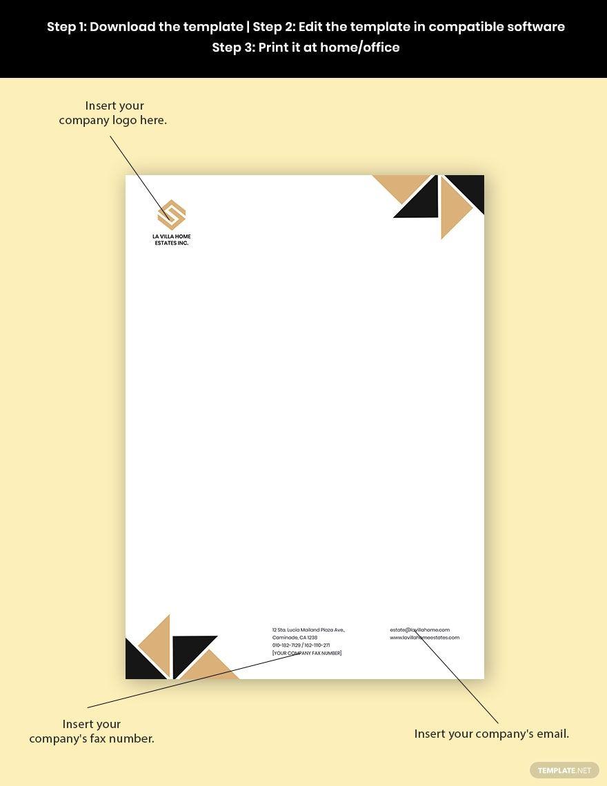 Luxury Real Estate Letterhead Template Free Jpg Google Docs Word Template Net Letterhead Template Letterhead Business Letterhead Real estate letterhead templates free