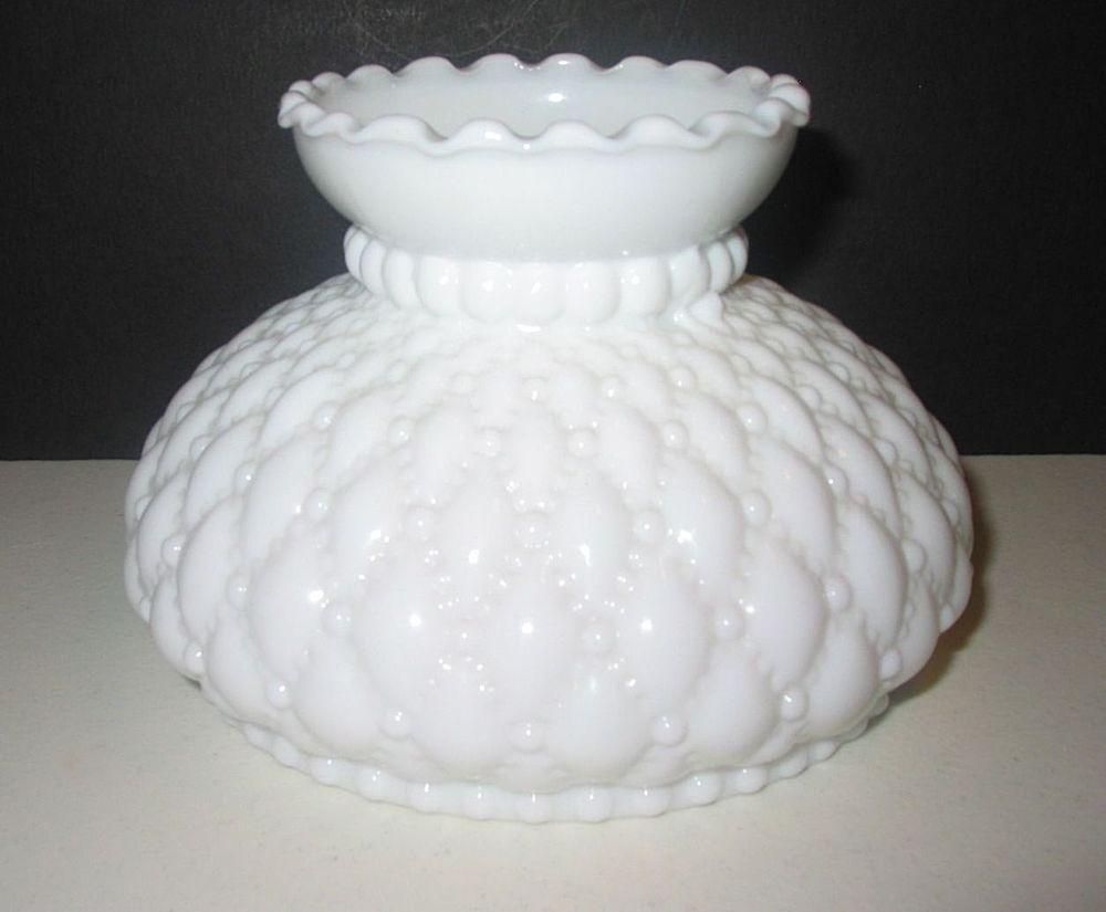 Vtg 6 Er White Milk Gl Quilt Diamond Student Wall Sconce Lamp Shade