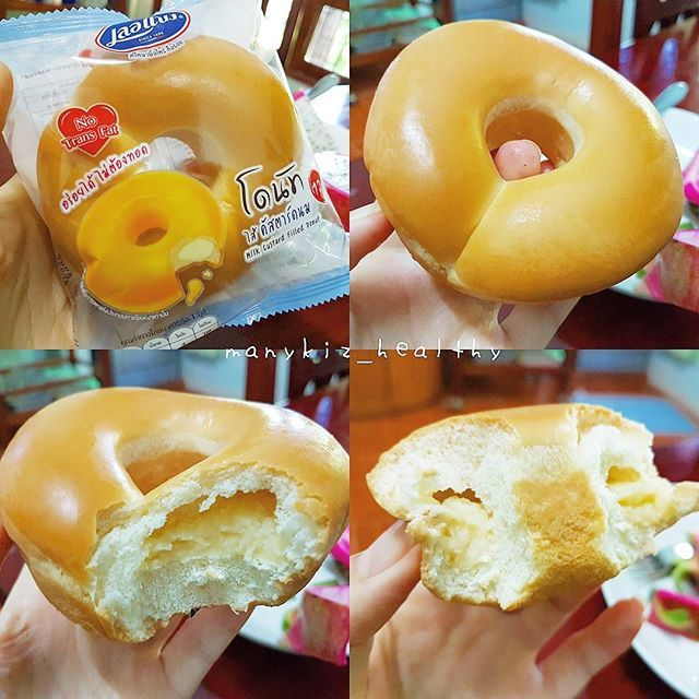 """WEBSTA @ manykiz_healthy - แบบนี้ก็ได้หรอกิเอ้ย แม่ซื้อมาใส่บาตร แต่คือ มันเหลือ ไอ้เราก็นะ เดินมาเจอ เกิดความสนใจ ไม่ได้กินแบบนี้นาน มันดูน่ากินอ่ะ ตรงคำว่า """"อร่อยได้ ไม่ต้องทอด"""" ปราศจากไขมันทรานส์🌻โดนัทแบบอบ ไส้คัสตาร์ดนม 180kcal 12฿ ถูไปอีก เฮ้ยอร่อย ความนุ่มไม่ได้พูดถึง นุ่มมาก หอมเว่อร์ ไส้หวานตามสไตส์ด้วยเช่นกัน #รีวิวเซเว่น"""