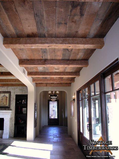 Flat Ceiling Beams With Random Width Decking Wood Plank