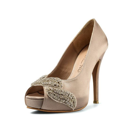 Covet Dark Champagne Peep Toe wedding heels you see are handmade shoes  featuring 4.5 inch heels 54f4a8dcb214
