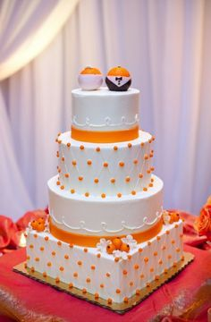 Purple And Orange Polka Dot Wedding Cake Google Search Cakes