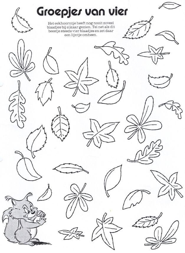 Werkblad: groepjes van vier herfstbladeren maken | Herfst en fruit ...