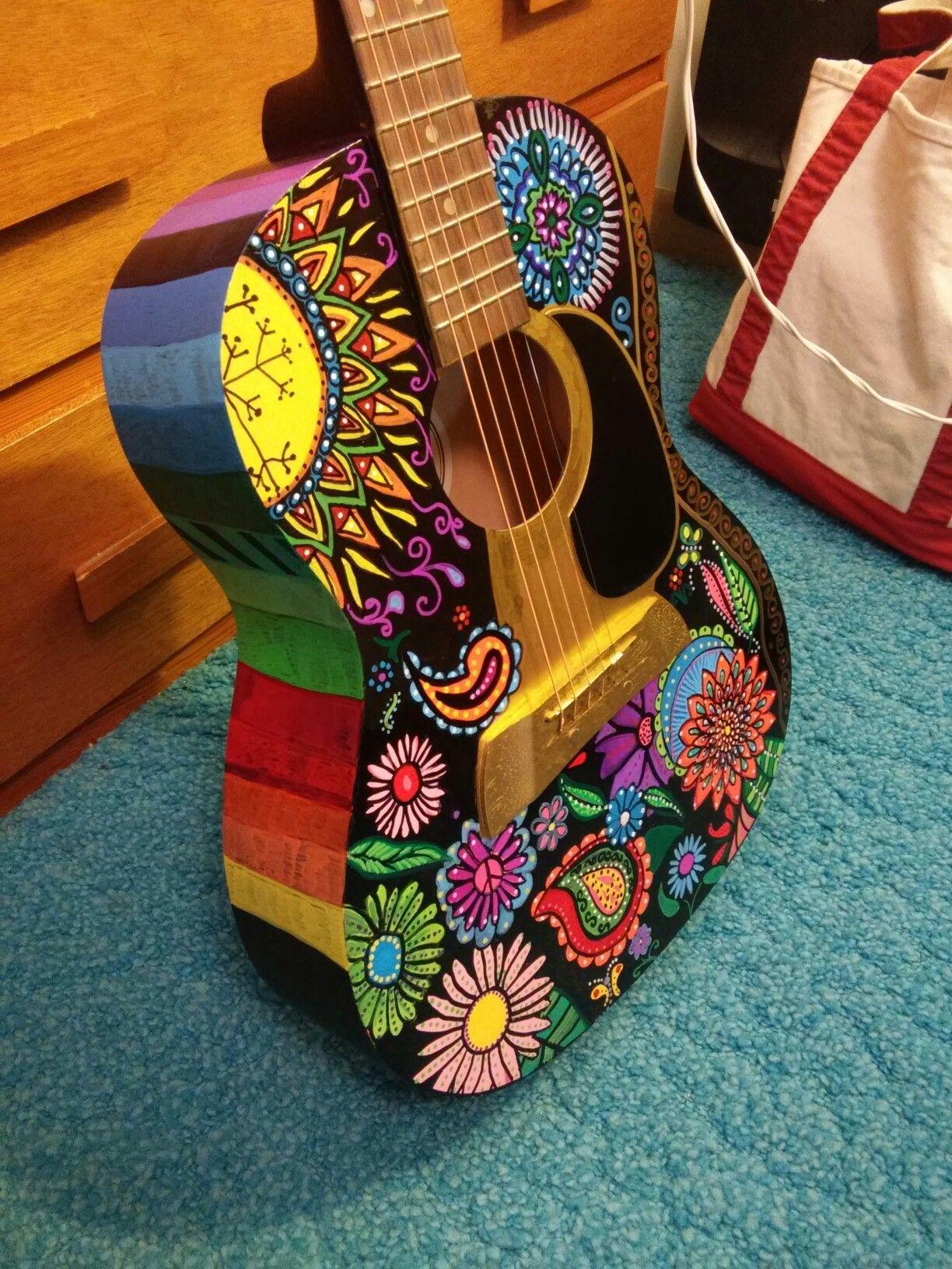 Hand painted guitar, bohemian gypsy hippie decor   Titus ...