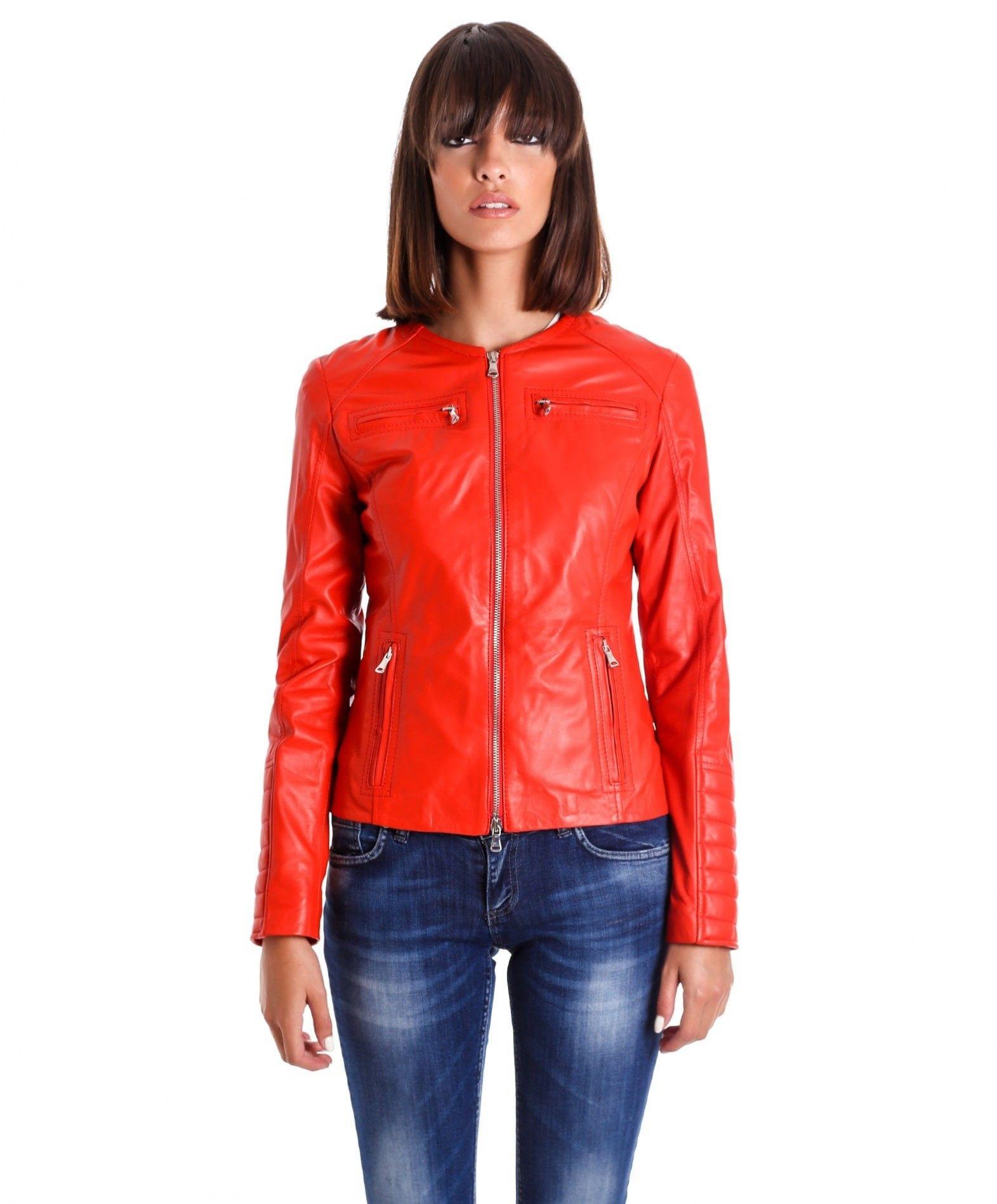 01d9ed9818111f M890 • colore rosso • giacca biker in pelle trapuntata nappa effetto liscio