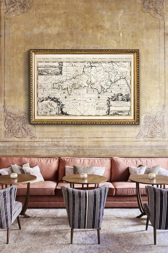 La Manche Old Map 1693 Map of Great Britain by CooltPrintsCo