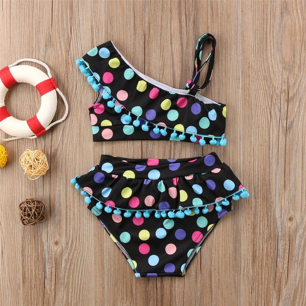Toddler Baby Girl Swimsuit Sleeveless Swimwear Dot One Piece Beach Bikini Bathing Suit Outfits 6M-4T