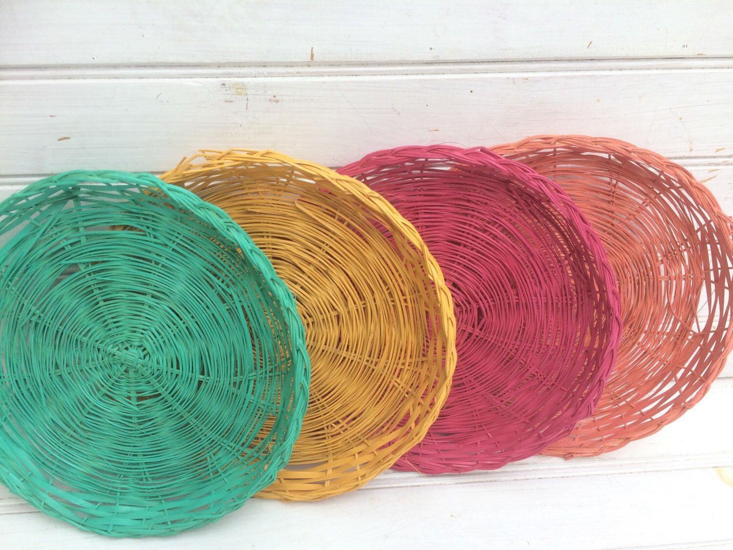 FOUR Wicker Paper Plate Holders Picnic Colorful Painted Upcycled. Raspberry Pink. Coral. Marigold & FOUR Wicker Paper Plate Holders Picnic Colorful Painted Upcycled ...